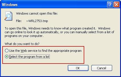 При попытке открыть TMP файл при помощи встроенных средств Windows вам придется указать, какой программой воспользоваться