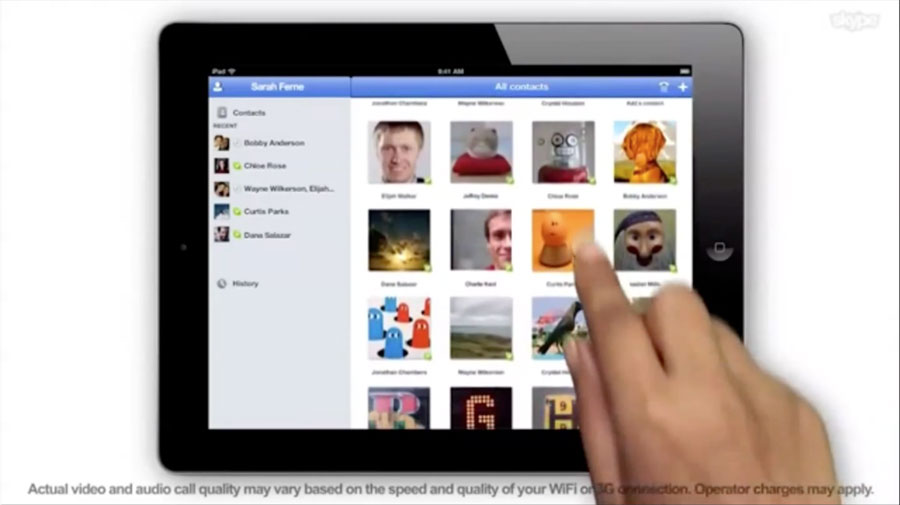 Skype на планшете