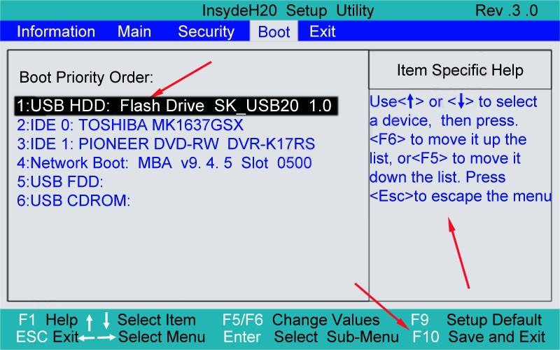 Выставить необходимый приоритет загрузки устройств можно в BIOS на вкладке Boot при помощи стрелок или кнопок F5-F6