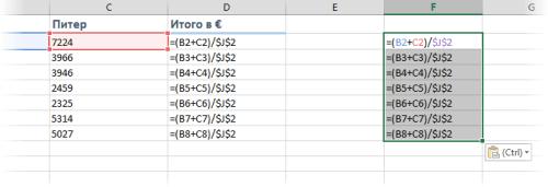 Пример автозаполнения таблиц значениями сумм на основе заданной формулы