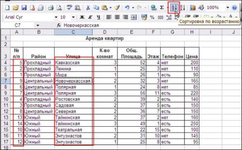 Функция сортировки будет полезна в случае необходимости упорядочивания значений ячеек по алфавиту либо по возрастанию/убыванию