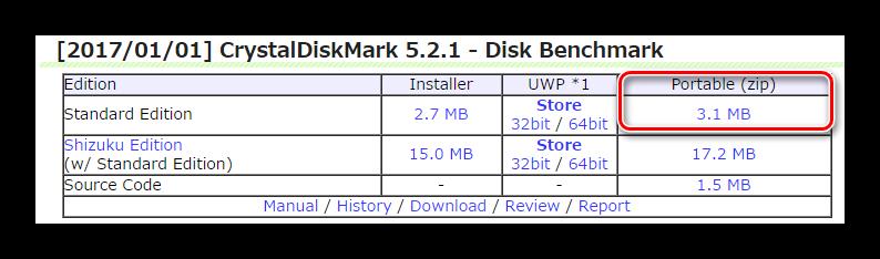 Загрузка портативной версии CrystalDiskMark