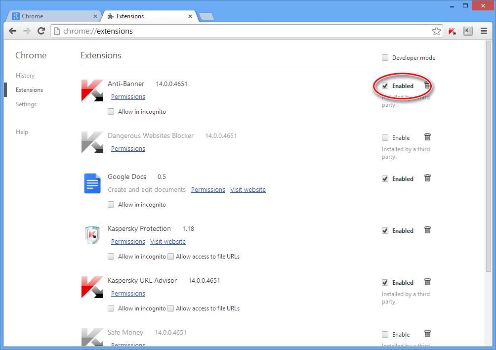 Отключаем Kaspersky Protection в Chrome