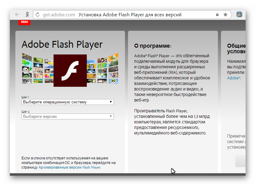 Официальный сайт Adobe Flash Player