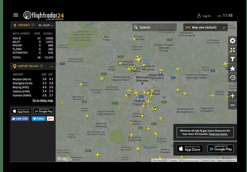 Карта во flightradar24
