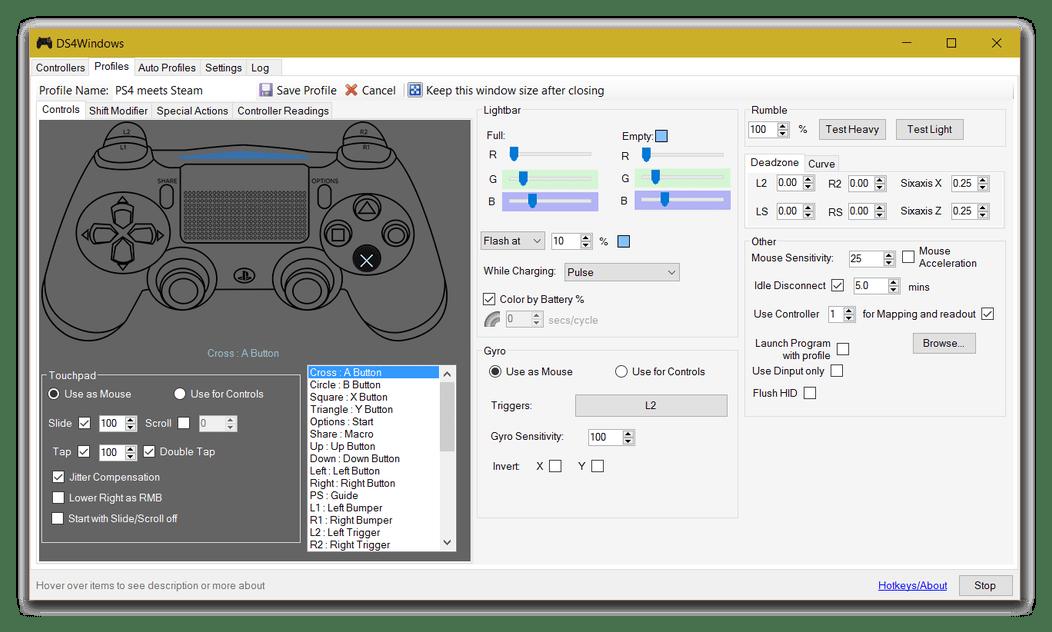 Профили DS4Windows