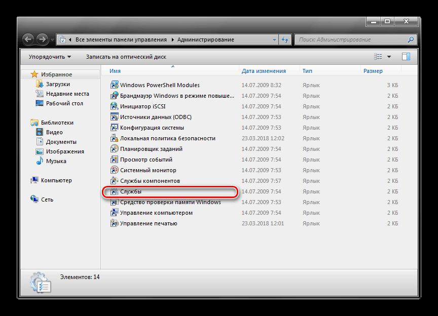 Службы в Панели управления Windows