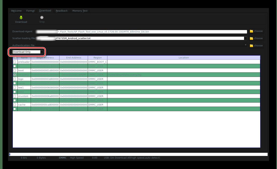 Установка режима загрузки Download only в SP Flash Tool