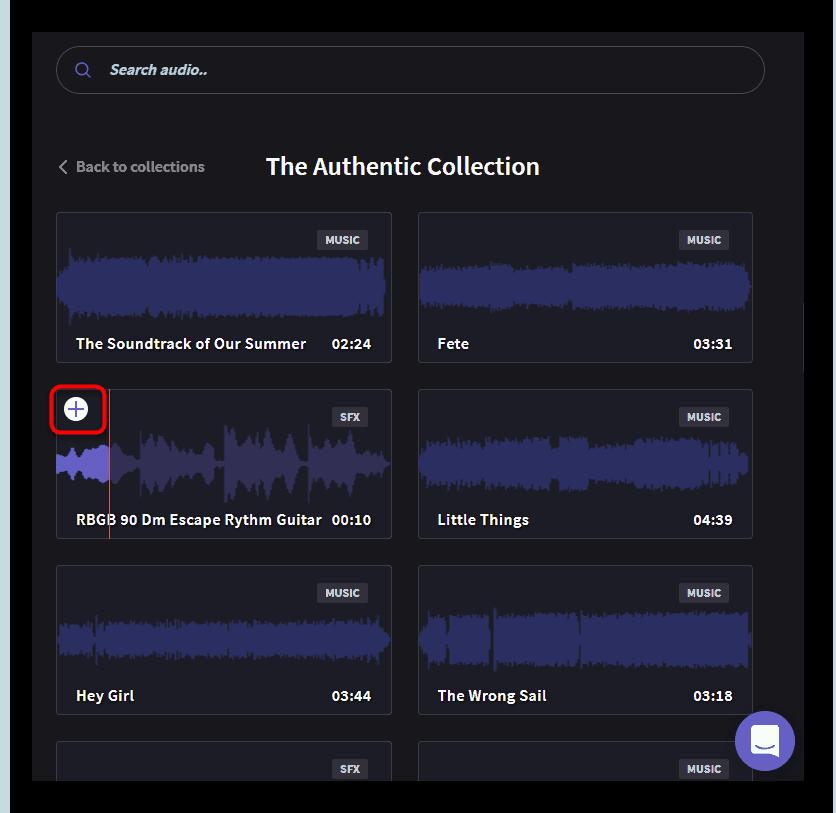 Быстрое добавление аудио в проект в Clipchamp