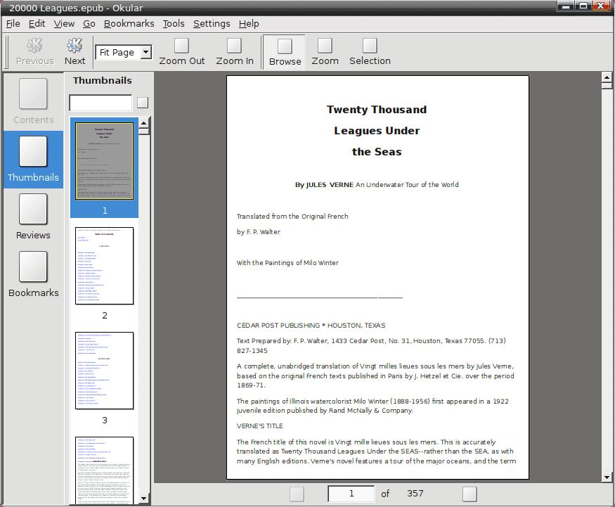 Универсальная кросплатформенная программа Okular с открытым файлом формата ePub, работающая в Linux (KDE)