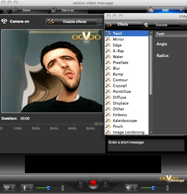 ooVoo предоставляет ряд интересных эффектов, которые накладываются на видеопоток, который видят все участники конференции
