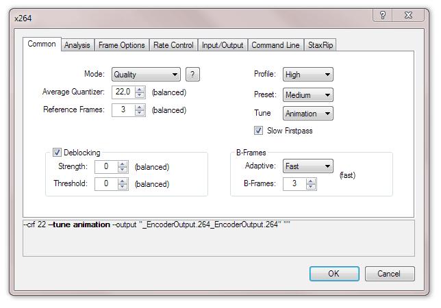 Окно настроек программы StaxRip, позволяющей открывать файлы x264