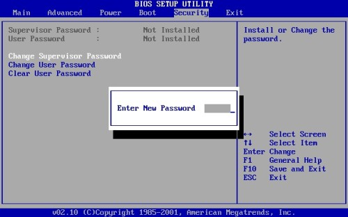"""Установить пароль БИОС можно зайдя на вкладку """"Security"""" меню BIOS Setup"""