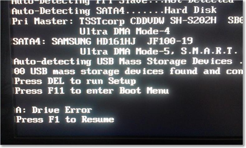 Ошибка A: Drive Error возникает, если в БИОС включено использование флоппи-диска, а на компьютере он отсутствует