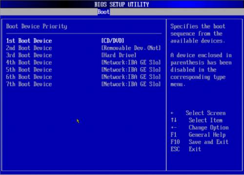 Чтобы начать процесс установки Windows через БИОС, необходимо в качестве первого загрузочного устройства указать ваш привод с записанным образом диска