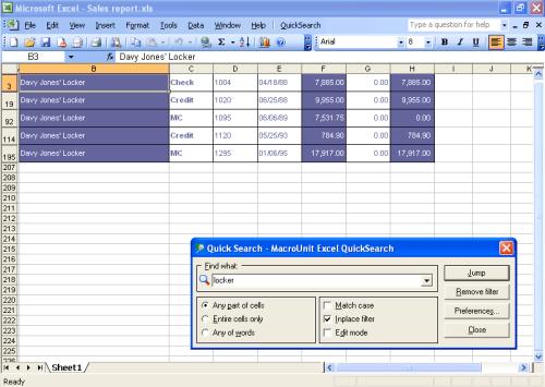 Пример использования инструмента поиск в Excel