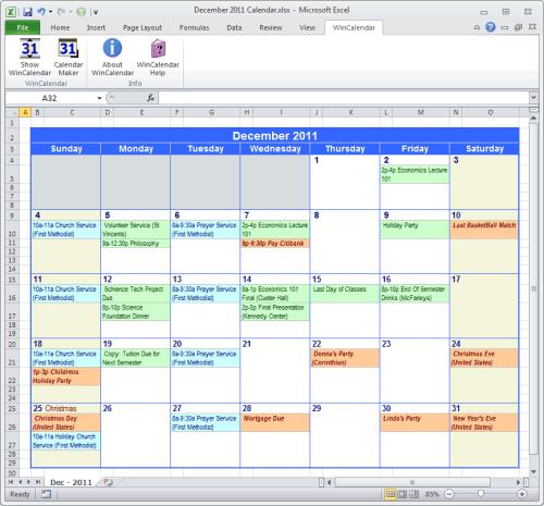 Пример готового календаря в экселе