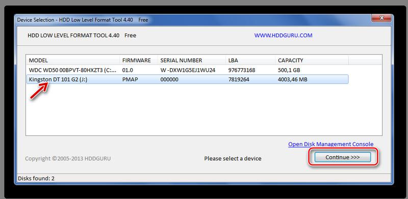 Выбор накопителя в HDD Low Level Format Tool