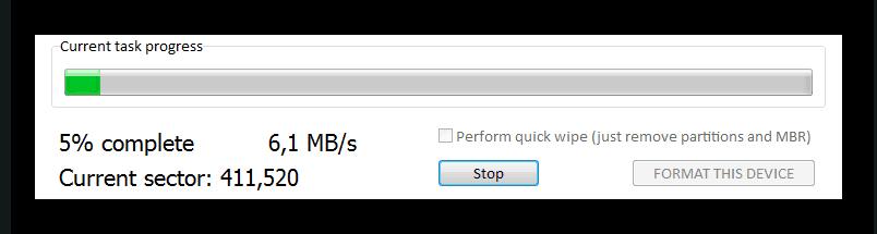 Состояние форматирования в HDD Low Level Format Tool