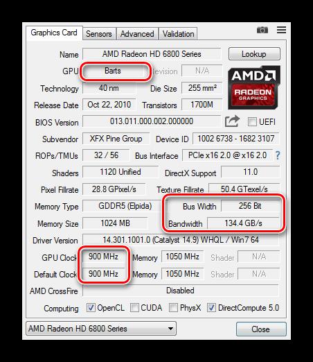 Интерфейс GPU-Z с указанием на поколение чипа, его частоту, пропускную способность и ширину шины