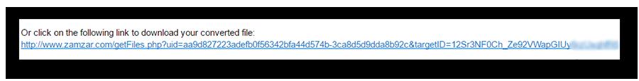 Переход по ссылке из электронной почты для скачивания файла в сервисе Zamzar