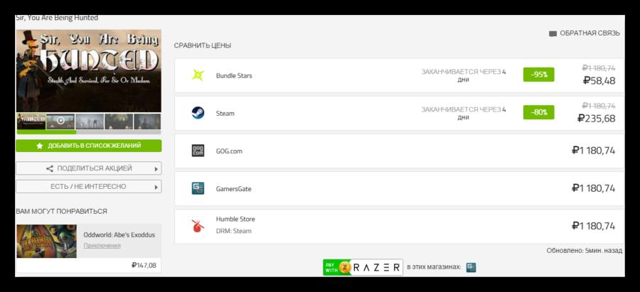Сравнение цен основных магазинов игр в программе Razer Cortex