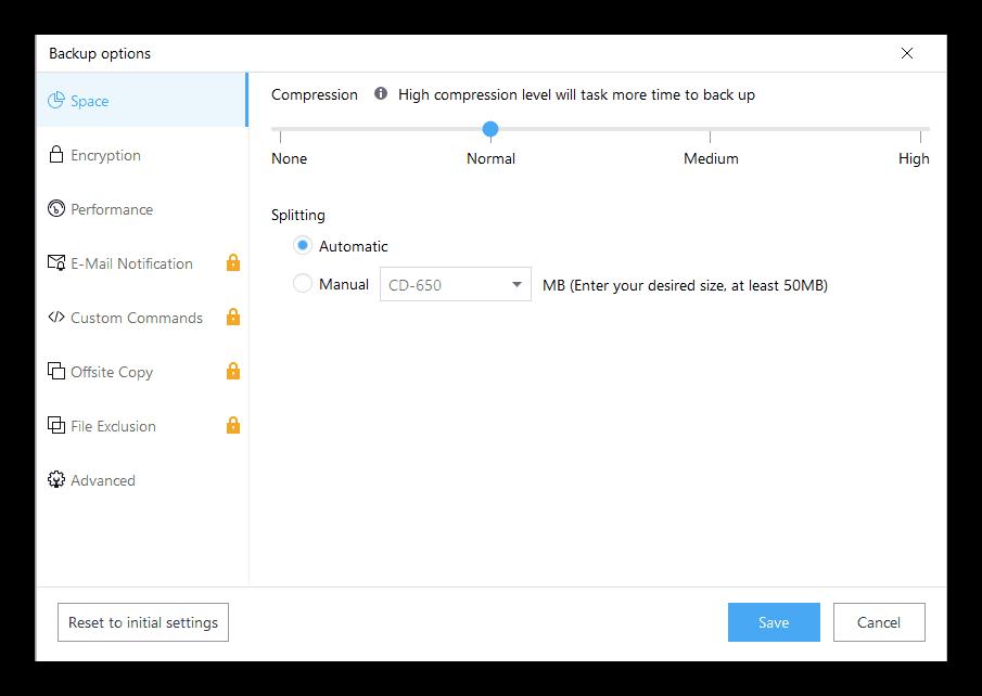 Дополнительные параметры резервирования в программе EaseUS Todo Backup Free
