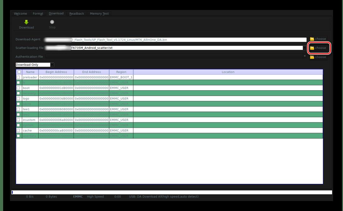 Загрузка Scatter-файла в SP Flash Tool