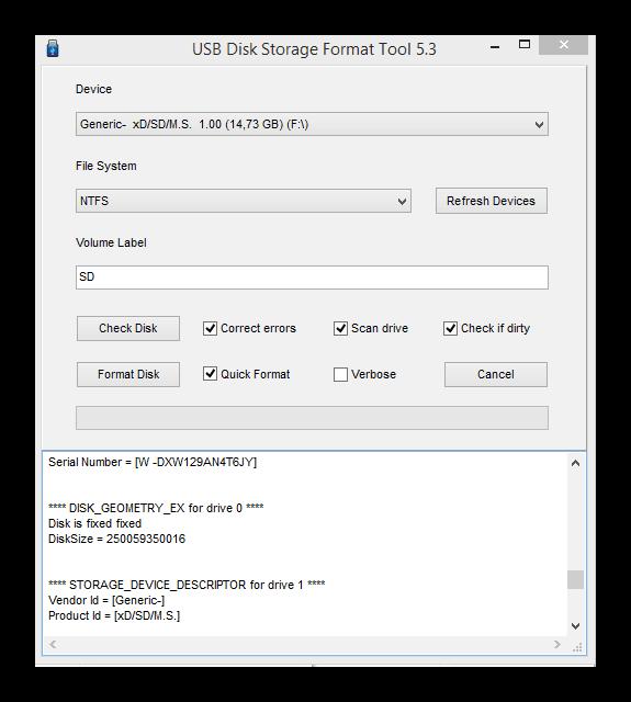 Параметры форматирования карты памяти программой USB Disk Storage Format Tool